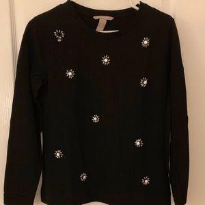 J. Crew Black Sweatshirt/Sweater with Bead Detail
